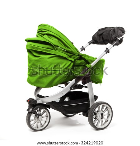 green baby stroller isolated on white - stock photo
