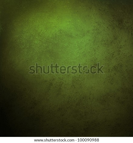 green background or grunge texture in olive green color, with black vintage grunge frame, has old faded solid background in center spotlight for text or copy space - stock photo