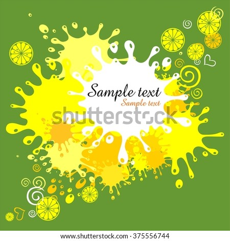Green background with blots and lemon. Illustration