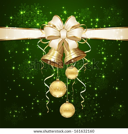 Green background with Christmas balls and golden bells, illustration.