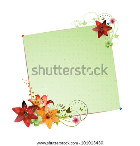 Green background with flowers