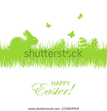 Green background with little rabbit and Easter eggs in a grass, illustration. - stock photo