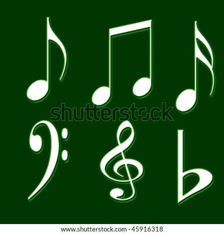 GREEN BACKGROUND WITH MUSIC NOTES