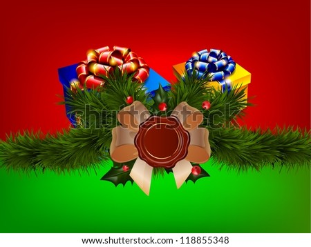 Green background with red color and gifts and badges/ - stock photo