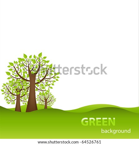 Green Background With Trees And Earth, Isolated On White Background - stock photo