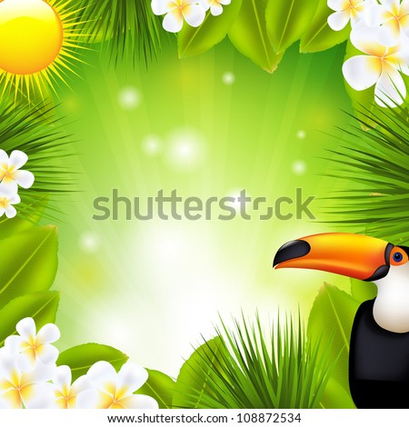 Green Background With Tropical Elements - stock photo