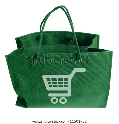 Green bag with an illustrated shopping cart on the front