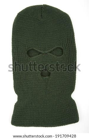 Green balaclava mask - stock photo