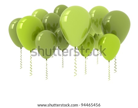 Green balloons 3D render. Isolated on white - stock photo