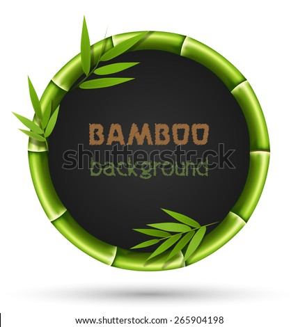 Green bamboo circle frame isolated on white background - stock photo