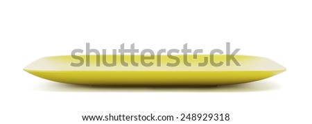 green bamboo plate, isolated on white background - stock photo