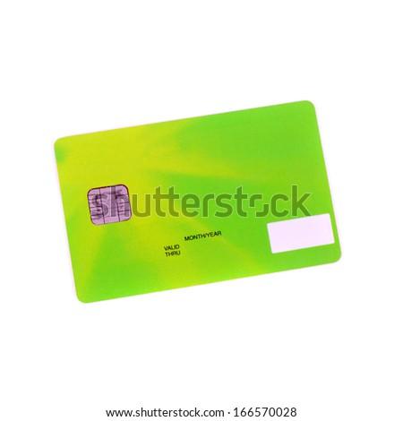 green bank credit card closeup - stock photo