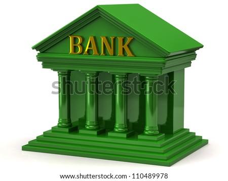 Green bank on white background - stock photo