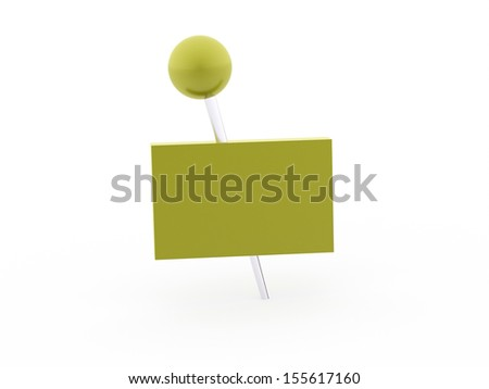 Green banner concept with push pin rendered on white background isolated