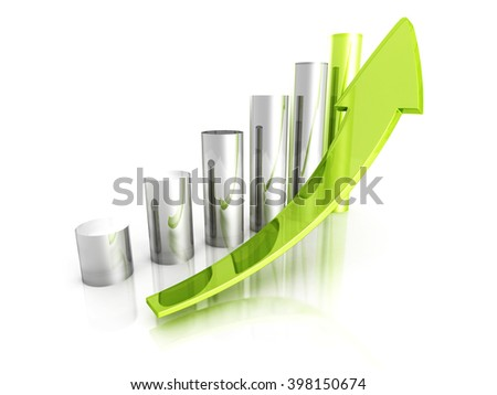 Green Bar Chart Business Growth With Rising Up Arrow. Sccess Concept 3d Render Illustration