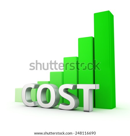 Green bar graph of Cost on white. Growth and development concept. - stock photo