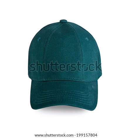 Green baseball cap isolated on white background