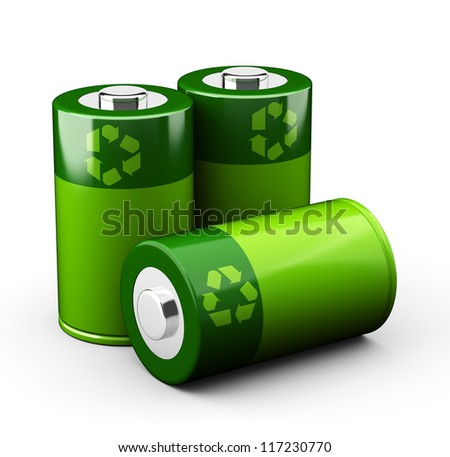 Green Batteries - stock photo