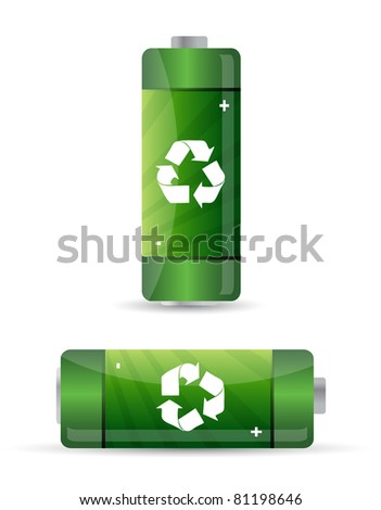 green batteries set with recycling symbol. - stock photo