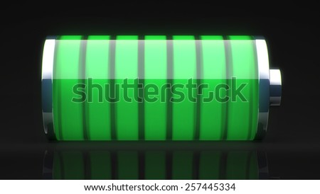 green battery charged for use in presentations, education manuals, design, etc. - stock photo