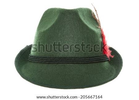 Green bavarian hat studio cutout - stock photo