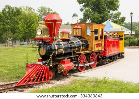 GREEN BAY WI - June 9, 2015: Narrow Gauge Train at Bay Beach Amusement Park, a popular tourist attraction in Green Bay.  It was donated by the Woelbing family, makers of Carmex lip-balm products.