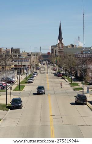 Green Bay, Wisconsin - April 27:  City street downtown Green Bay, view from Tilleman Bridge April 27, 2015.  - stock photo