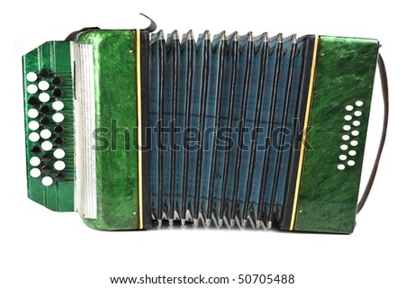 green bayan  isolated on white background - stock photo