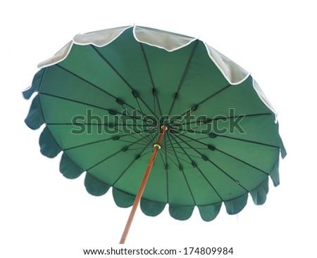 green beach umbrella isolated on white - stock photo