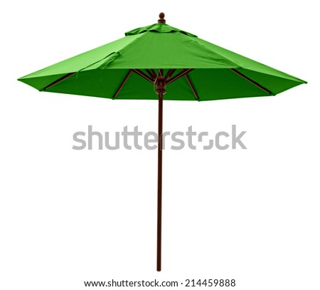 Green beach umbrella isolated on white. Clipping path included. - stock photo