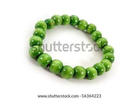 Green beaded bracelet - stock photo