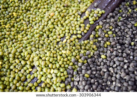 Green bean or mung bean and black beans background