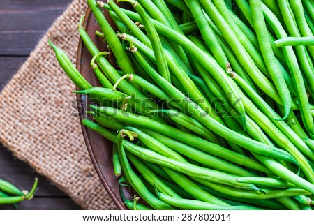 Green beans close up top view. - stock photo