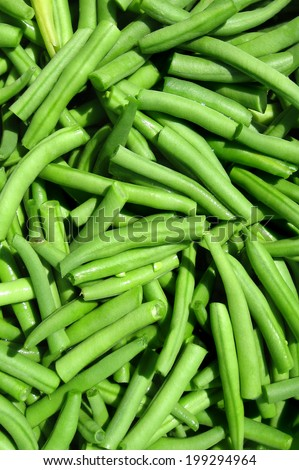Green beans/Fresh green beans cut on a little pieces ready for cooking. - stock photo
