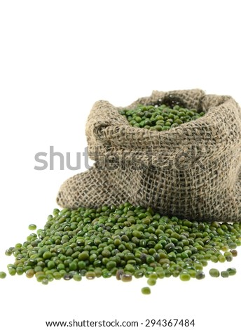 Green Beans in bag isolated on white background - stock photo