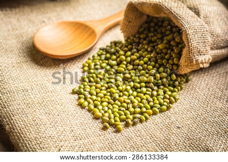 green beans in sack bags with sack cloth and spoon on old wooden background - stock photo