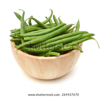 Green beans isolated in wooden bowl on a white background. - stock photo
