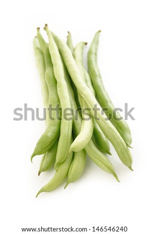 Green beans isolated on  white