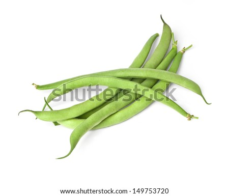 Green beans isolated on white.With clipping path - stock photo