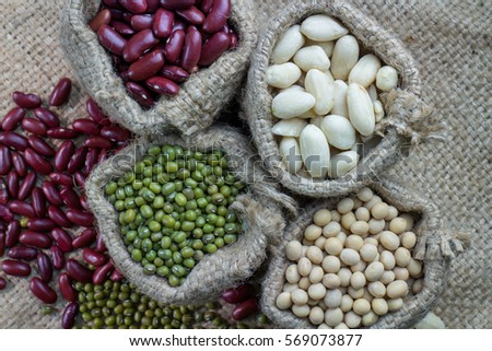 Green beans  peanuts  soybeans  raw red tank dry in sacks in a bag. Bag Of Peanuts Stock Images  Royalty Free Images   Vectors