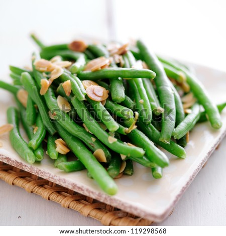 Green beans with almonds close up photo - stock photo