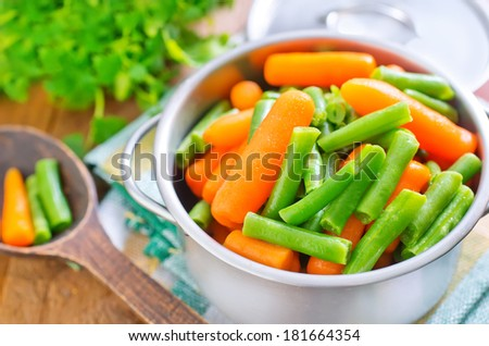 Green beans with carrots - stock photo
