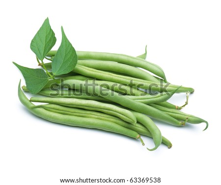 Green beans with leaves on white background - stock photo