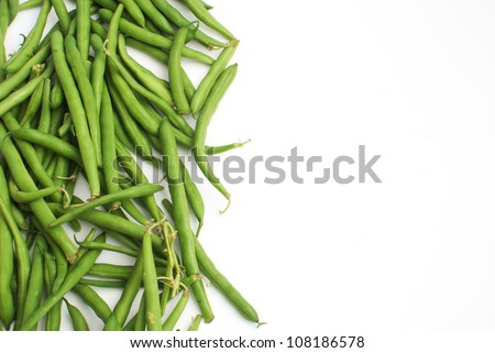 Green beans with place for text - stock photo