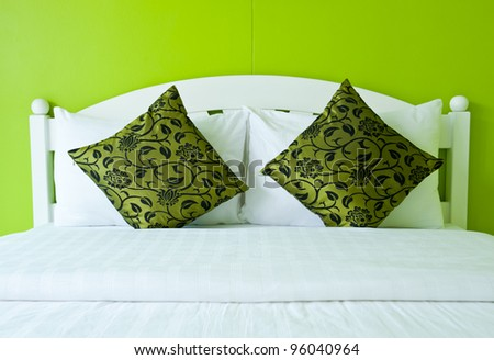 Green Bedroom in a modern house - home interiors. - stock photo