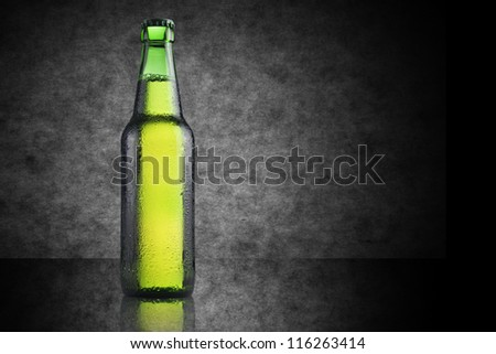 Green Beer bottle - stock photo