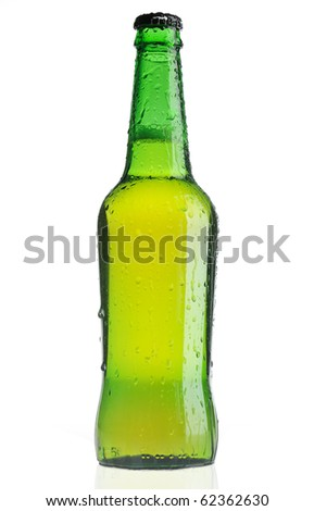 Green beer bottle with water drops on white background