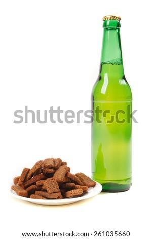 Green beer bottles - stock photo