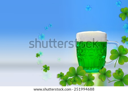 Green beer for St Patrick's day - stock photo