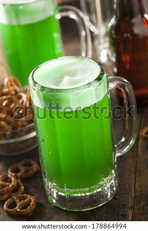 Green Beer in a Mug for St. Patrick's Day Celebration - stock photo